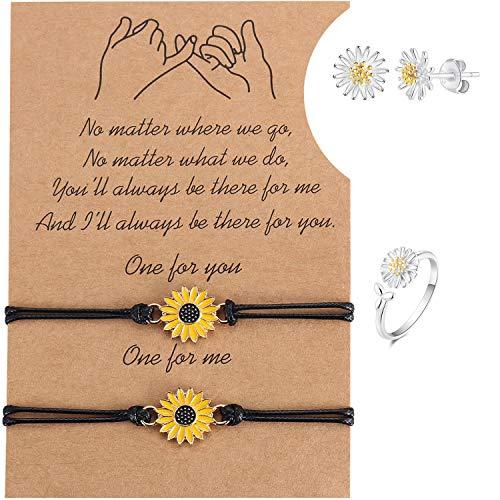 Ralukiia Sunflower Pinky Promise Best Friend Long Distance Bracelets Stud Earrings Ring Jewelry Set for Women Girls BFF Matching Bracelets for 2 Sister Bestie