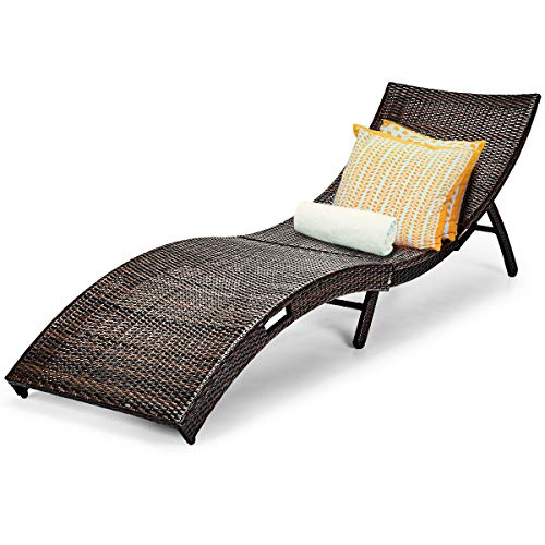 Tangkula Patio Rattan Chaise Lounge, Outdoor Wicker Lounge Chair, Foldable Chaise Lounge, Suitable for Poolside, Garden, Balcony (1, Brown)
