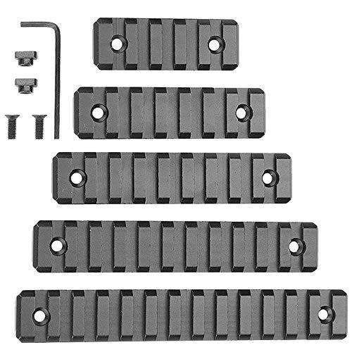 M-Lok Picatinny-Schiene, 5-fach, 7-fach, 9-fach, 11-fach, 13-fach, leichtes M-Lok Picatinny-Schienenzubehör aus Aluminium für das M-LOK-System mit T-Muttern, Innensechskantschlüssel, 5er-Pack