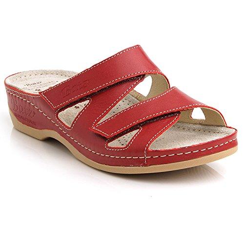 Batz ENI Hochwertige Damen Slip-On Sandalen Clogs, Rot, EU 39