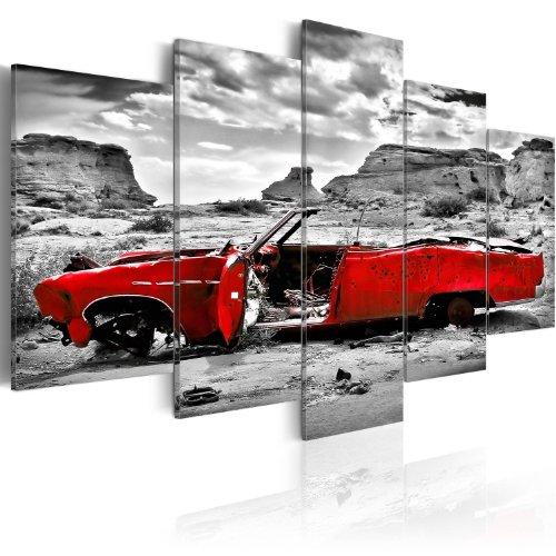 murando Acrylglasbild Auto 200x100 cm 5 Teilig Wandbild auf Acryl Glas Bilder Kunstdruck Moderne Wanddekoration - Landschaft grau rot i-C-0074-k-m