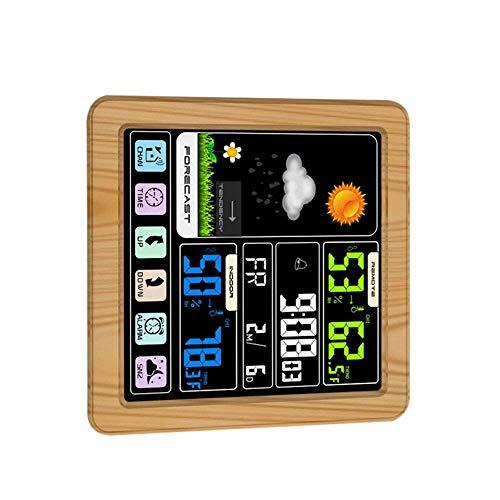 HOOBBI Digital-Wetterstation Uhr Multifunktions-Farb-Touchscreen-Wecker-Innen Außen-Temperatur-Feuchtigkeits-Anzeige (Color : Yellow)