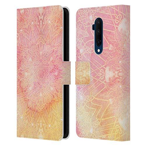 Officiële Aimee Stewart Roze limonade Mandala Lederen Book Portemonnee Cover Compatibel voor OnePlus 7T Pro