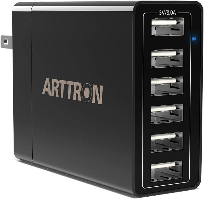 USB Wall Charger, Arttron 6-Port 40W USB Charging Station, Universal Travel Adapter, for iPhone 11 Pro/XS/XR/X/8/7/6 Plus, Ipad Pro/Air/Mini, Galaxy/Note/Edge, LG, HTC, Nexus, All 5V USB devices etc.