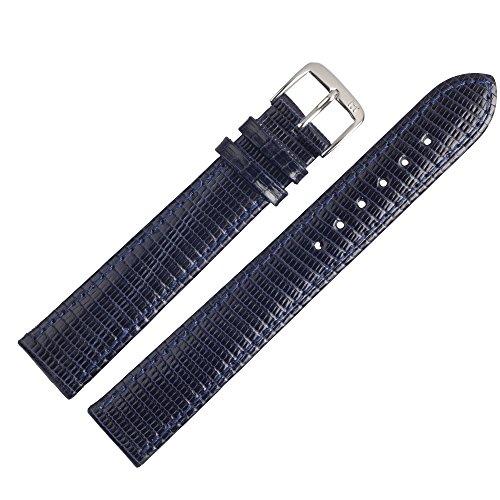 MARBURGER Uhrenarmband 16mm Leder Blau Eidechse XL - Werkzeug Montage Set 8081651000120