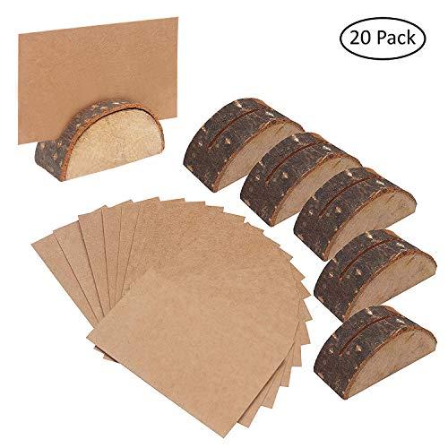 Belle Vous Rustikale Holzkartenhalter (20er-Set) - 30 Visitenkarten Halbkreisförmige Holzkartenhalter Kartenhalter Hochzeit Tischkarten, Menükartenhalter für Restaurants, Tischhalter, Fotos