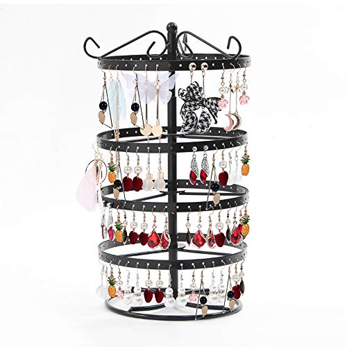 Qingsm 4-Layer Rotating 168-Hole Earring Holder, Earring Holder Organizer, Earring Organizer Musical Jewelry Box for Girls, Travel Jewelry Organizer-Black