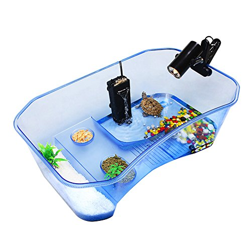 Zantec Tartarughiera plastica senza coperchio, Vasca comoda per tartarughe rettili, 40*23*13 cm