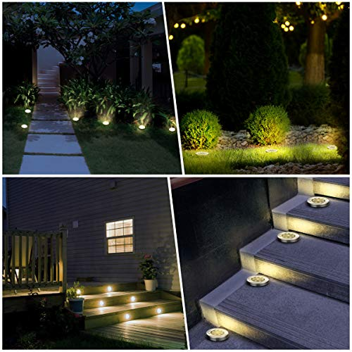 YUNLIGHTS 8PCS Solar Lights Outdoor, Solar Ground Lights with 9 LEDs, Disk Lights Garden Solar Lights Auto On/Off, IP65 Waterproof Yard Solar Lights for Lawn Pathway Yard Driveway Walkway Warm White