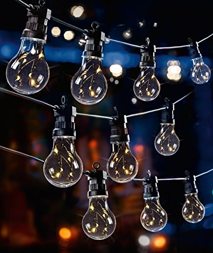 10 Multi Action Warm White Festoon LED Lights - 4.5m Lit Length & 5M Cable - Indoor & Outdoor Use Christmas Lights