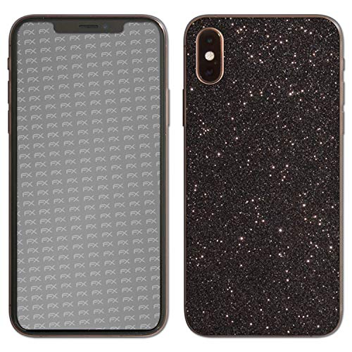 atFolix Skin kompatibel mit Apple iPhone XS Back Cover, Designfolie Sticker (FX-Glitter-Black-Sky), Reflektierende Glitzerfolie