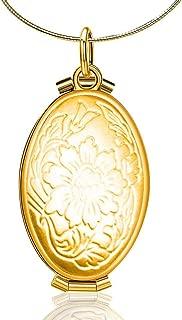 RoseSummer Expanding Photo Locket Vintage Floating Floral&Mermaid Necklace Pendant