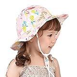 Comhats Sombrero de sol para bebé niña niño niño niño niño UPF 50 algodón verano cubo Sunhat ajustable correa de barbilla