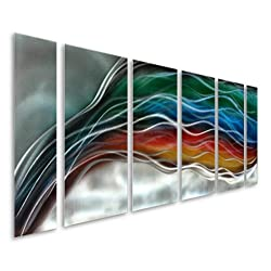 Pure Art Colorful Rainbow Wave - Large Handcrafted Silver Abstract Metal Wall Art Decor - Set of 6 Panels, Modern Hanging Sculpture, Artwork for Your Home, Business, Office - 65 x 24