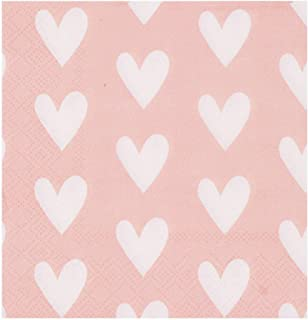 Betop House Pinky Sweet Heart Cocktail Paper Napkins for Valentine's Day Wedding Shower Engagement Anniversary Party Buffet Table Decorations, 80-Count
