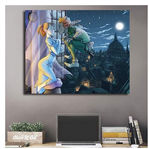 GIRDSS Hola Wendy Peter Pan Lienzo CartelesArte de la Pared Pintura al óleo Imagen Decorativa Accesorios Obra de arte-60X90cm sin Marco