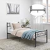 FurnitureR Cama Individual Estructura de Cama de Metal con cabecera y pie de Cama, Ninguno Funda de colchón, Listones robustos mejorados Negro