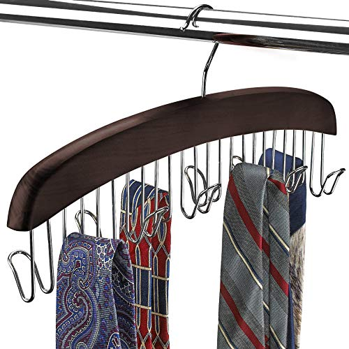SUNTRADE Wooden Belt Hanger12 Tie Belt Scarf Holder Closet Organizer Rack Hanger Hook Black 12 Hooks