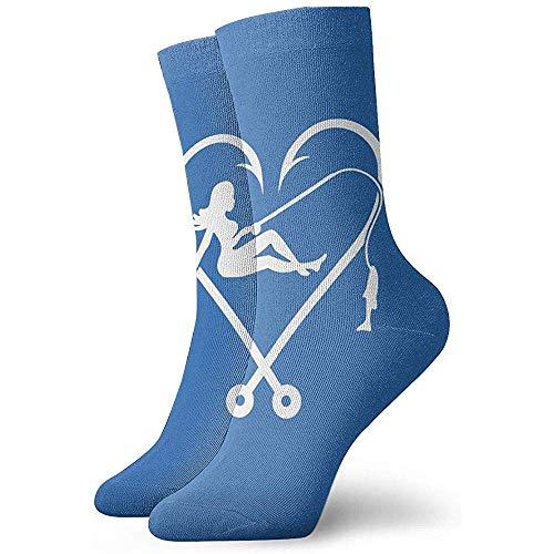 Gre Rry Hommes 'S I Love Fishing Logo Crew Socks Chaussettes Thermiques de contrôle de l'humidité