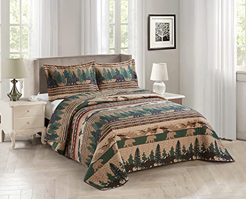Rustic Quilt Stitched Cabin Bedspread Bedding Set in Beige Tan Brown and Green with Grizzly Bears and The Western Sequoia Backcountry - Sequoia (Full / Queen)