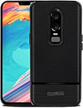 Oneplus 6 Case, Cruzerlite Flexible Slim Case with Leather Texture Grip and Shock Absorption for Oneplus 6 (Black)