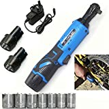 Cordless Electric Ratchet Wrench, 3/8' 40N.m 12V Power Ratchet Wrench Tool Kit w/ 2 x 1500mAh Lithium-Ion Battery & 7...