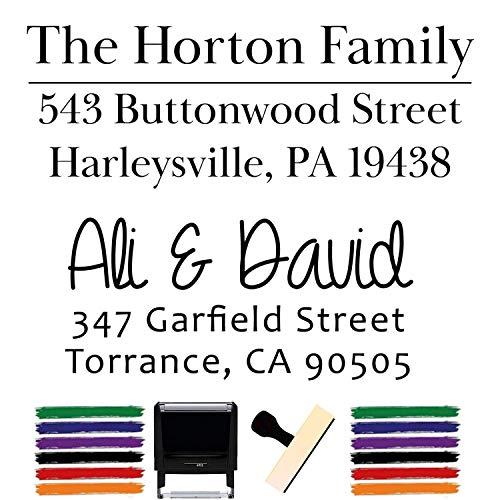 Custom Stamp - Return Address Stamp - Self Inking Name Stamp Custom Address Stamps Wedding Invitation Stamp 15+ Designs! (Wood Handle)