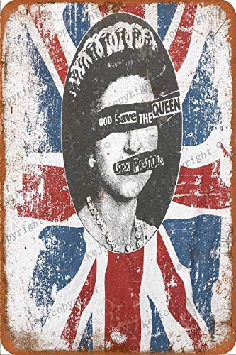 Sex-Pistols God Save The Queen Poster Retro Tin Sign Vintage Poster Plaque Wall Decor for Bar Cafe Garden Bedroom Office Hotel 8×12 Inch