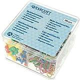 Westcott Multifunktionsbox, Bürobox, 390 Teile, Büroklammer, Reißnägel, Pinnwandnadeln, Gummiringe, bunt, transparent, E-10580 00