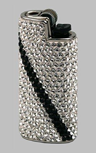 BIC Feuerzeughülle Mini Swarovski Elements weiß/schwarz mit Mini Feuerzeug