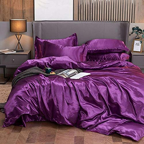 Bedding-LZ duvet cover double,Anti-filament pink high-end multi-color summer love silk skis-sleeper sleeve four-piece set-V_1.8m bed (4 pieces)
