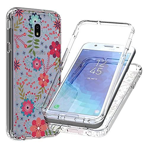 Blllue Carcasa para Samsung J7 2018, diseño floral de flores para mujer y niñas, transparente, ajuste delgado, 2 en 1, PC duro y marco de TPU para Samsung J7 Refine/J7 2018/J7 Star, pequeño floral