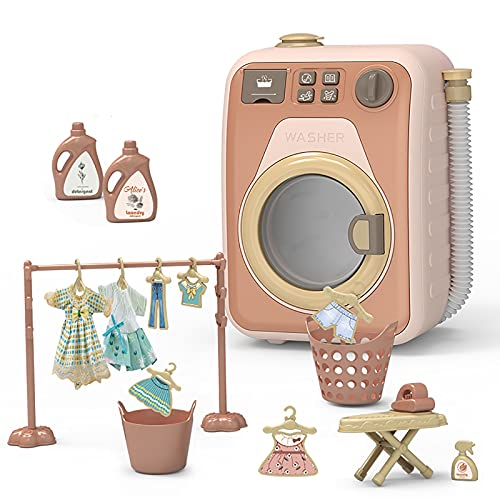 EASYTAO Lavadora de Juguetes para NiñOs, Lavadora y Secadora de Juegos para NiñOs, Juego de Lavadora y Secadora para NiñOs,Lavadora de Juguetes ElectróNica con Funciones Realistas(Color:Pink 1 Set)
