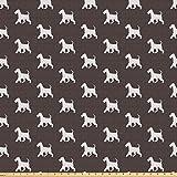 ABAKUHAUS perro del escocés Tela por Metro, Terrier escocés blanco, Tela Elastizada Estampada para Costura Arte y Bricolaje, 1 Metro, Marrón y negro