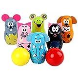 CYSHAKE 1 Conjunto de Lindos Jugadores de Bolos de Bolos creativos Lindos Set de Bolos de Madera Bolos para niños Juegos Deportivos para niños