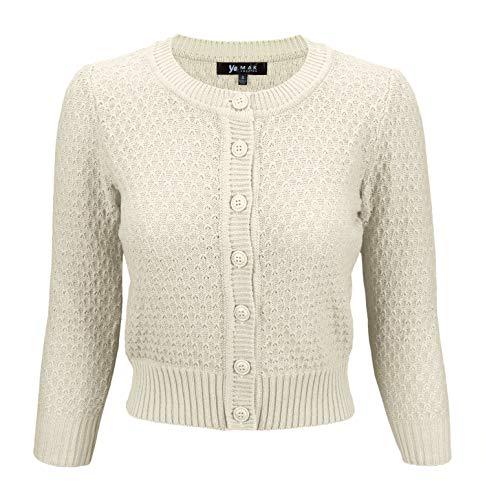 YEMAK Women's 3/4 Sleeve Crewneck Cropped Button Down Knit Cardigan Sweater MK3514-OAT-S