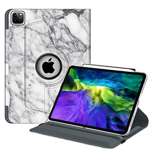 Fintie Case with Built-in Pencil Holder for iPad Pro 11' 2020 & 2018 [Support 2nd Gen Pencil Charging Mode] - 360 Degree Rotating Stand Protective Cover with Auto Sleep/Wake, Marble White