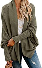 Imily Bela Womens Kimono Batwing Cable Knitted Slouchy Oversized Wrap Cardigan Sweater (Small, Army Green)