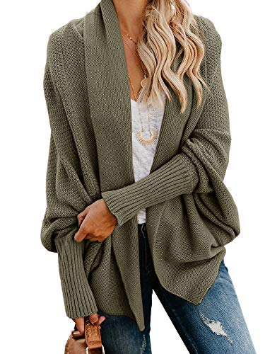 Imily Bela Womens Kimono Batwing Cable Knitted Slouchy Oversized Wrap Cardigan Sweater (Medium, Army Green)
