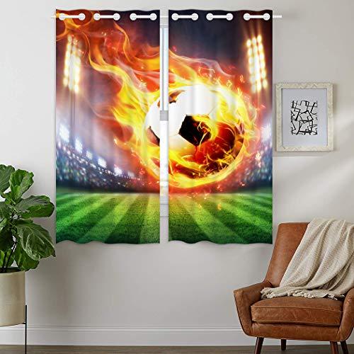 YISUMEI - Gardinen Blickdichter - Stadion Flamme Fußball,160 x 110 cm 2er Set Vorhang Verdunkelung mit Ösen für Schlafzimmer Wohnzimmer