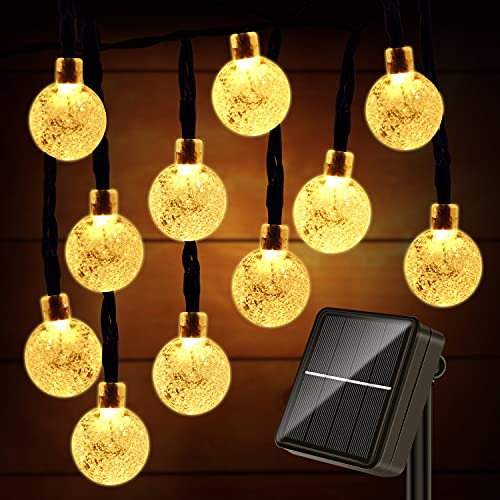 Guirnaldas Luces Exterior Solar -  11M 60LED Cadena de Bola Cristal Luz,  8 Mode IP65 Impermeable Guirnaldas Luz Solares Decoracion para Navidad Terraza Hogar Jardín Arboles Patio Bodas