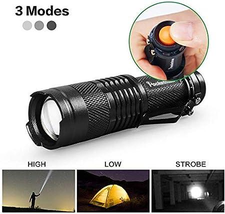 Adjustable Focus Light For Camping MODELO Mini LED Flashlight Green//Red//Blue Light Light Torch 3 Light Modes Night Vision Blue Night Fishing,Night ride Hiking