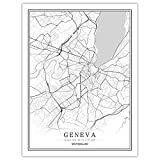 Impresión De Lienzo,La Ciudad De Ginebra Suiza Nórdicos Impresión Simple Palabra Póster En Blanco Y Negro Pintura En Tela, Imagen De Pared para Cafe Salón Decoración Habitación Niños, Empresa