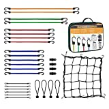 Bungee Cords Heavy Duty with Hooks ,30 Piece Set,Includes Bungee Cords,Bungee Cords with Balls,Tarp Clips,Cargo Net and Carry Case.