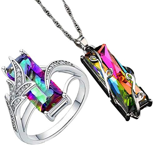 Kousa Crystal Necklace Ring Set,2pcs/set Fashion Colorful Crystal Ring and Necklace Set Valentines Day Gift
