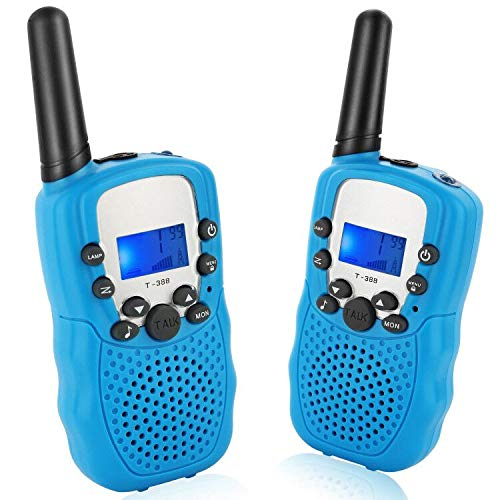 J-Deal Walkie Talkies for Kids, 22 Channels 2 Way Radio 3 Miles Long Range Kid Toy Gift with Backlit LCD Flashlight, for 3-12 Year Old Boys & Girls, Outdoor Adventures, Camping, Hiking, Party (Blue)