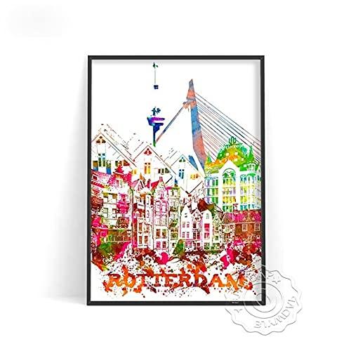 linbindeshoop Color World City Poster York Paris Moscow Wall Art Dubai Roma Wall Stickers San Francisco Rio De Janeiro Travel Poster(LT-380) 50x70cm No frame