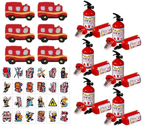 KSS Großes 18 Teiliges Feuerwehr Set Anspitzer , Radiergummi , Tattoos Alles im Feuerwehr Design , Kindergeburtstag als Mitgebsel , Mitbringsel , Tombola , Verlosung , Party