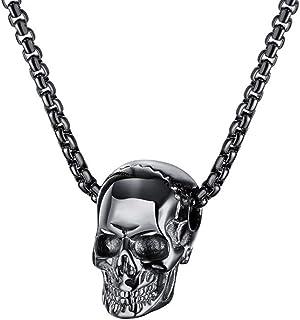 1PC Skull Necklace Titanium Steel Chic Retro Gothic Pendant for Men Boy Pendant and Chain Black Unisex