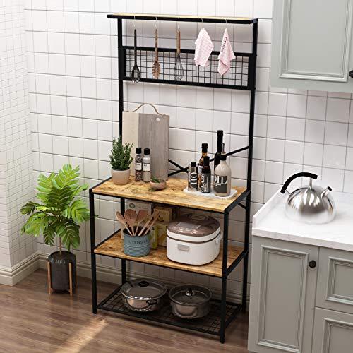 soges Bäckerregal Küchenregal Mikrowellenregal Mikrowellenhalter Standregal,Aufbewahrungsregal,3 Ablagen mit Hakens,84 x 40 x 170 cm